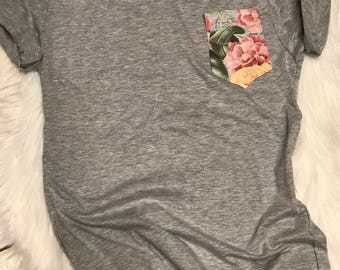 Floral Pocket Tee- Pocket Tee-women's clothing-clothing-