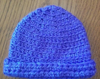 Newborn Purple Rolled Brim Hat