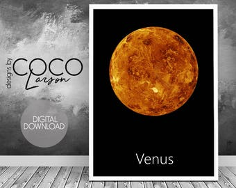 Venus print, living room, planet art, venus, astrology art, venus art, instant download, planet printable, planet wall art, planet poster