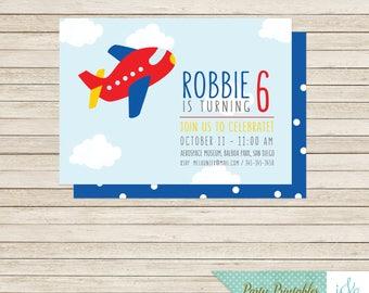 Plane Invitation, Plane Invite, Pilot Birthday Party, Plane Birthday Party, Boys Birthday, Vehicle Invite, Transport Invitation | PY29