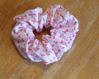Hair ruffle / scrunchie flamingo birds