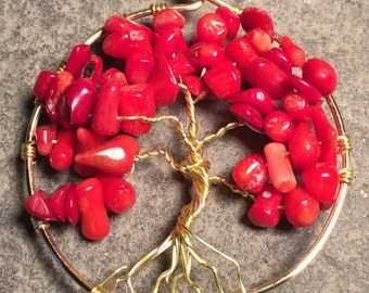 Tree of Life Pendant Red Coral