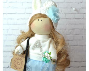 Fabric Doll Bunny doll Textile doll Rag doll Birthday present Rabbit doll