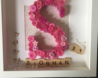 Letter frame, personalised letter frame, birthday frame, 21st birthday present
