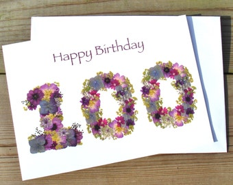 100th Birthday Card, Pressed Flower 100th Birthday Card Print, Nan 100th Birthday, Granddad 100th Birthday, Friend 100th Birthday Card