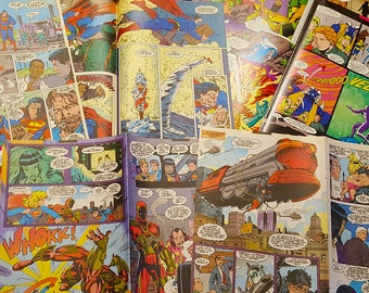 DC Superman Superhero Comic Book Pages. Perfect for Upcycle, Decoupage, Scrapbook, Collage, Framing, and many other art projects.