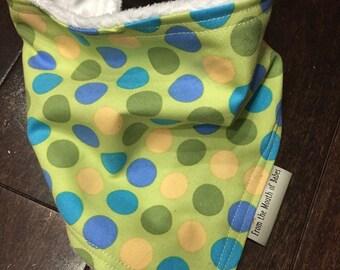Baby Bandana Bib - Blue, Yellow & Green Dots
