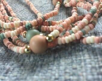 Vintage Bohemian Bead Necklace / Multi-strand Necklace / Layered Necklace / Matinee Length Necklace