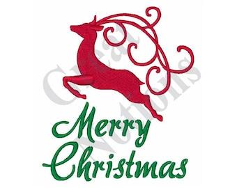 Merry Christmas Reindeer - Machine Embroidery Design