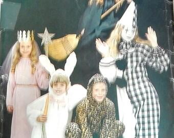 1987 Butterick 3372 Halloween costume pattern size girls S M L clown, witch, bunny, leopard, princess