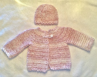 Crochet 0-3 months pink baby girl sweater and hat