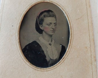 Woman Possibly With Crouzon Syndrome Antique Tintype Photograph;  Medical Interest