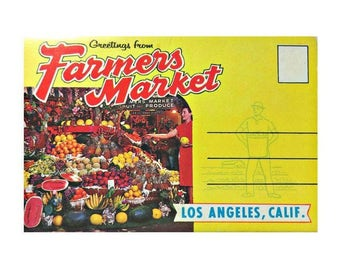 Farmers Market Los Angles CA USA Souvenir Fold Out Postcard Booklet P90398