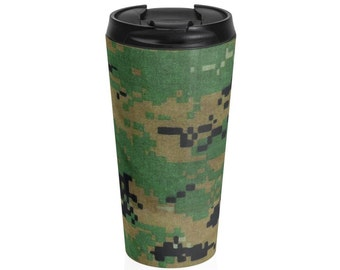 Marine Camo Stainless Steel Travel Mug