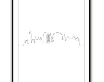 London Skyline, Modern Art, Wall Art, England Print, Black and White, Line Art, UK Art, One Line Art, Wall Print, London Cityscape Print,