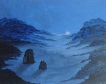 Moonlit Coombe - an original acrylic painting on canvas