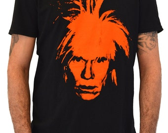 "Mens T-shirt ""Andy Warhol"" Black t-shirt Water Colors Screen Print"