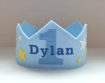 Wool Felt Crown Stars, Birthday Crown, Boy Crown, First Birthday, Personalized, Velcro Closure, Photo Prop, Smash Cake