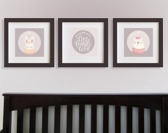Kids Wall Art Printable Nursery Decor, Instant Download live laugh love , Baby born Animal birthday Children's art, nursery decor, set of 3
