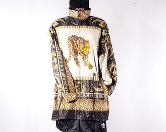Vintage parka•swag jacket•Baroque gold leopard print•Royality jacket•Leopard print jacket•90s hip hop clothing•Cupids print•Vintage clothing