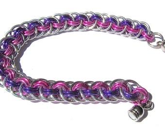 "Chain-Maille Anodized Aluminum Weave Bracelet-Pink, Purple, Silver-7 1/2"""