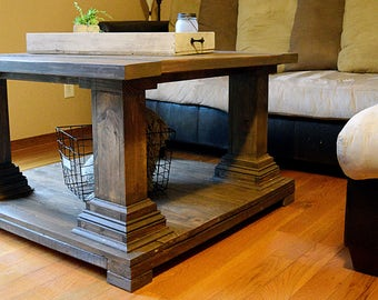 Square Coffee Table  Rustic Coffee Table  Pedestal Leg Coffee Table  Shabby  Chic Decor