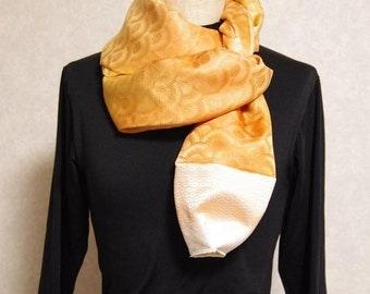Japanese Vintage kimono.handmade scarf.Orange gradation.