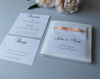 Luxury Lace and Ribbon Wedding Invitation Suite - Any Colour Lily 2009