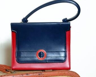 Vintage 60s mod handbag / red & blue faux leather purse / top handle color block bag
