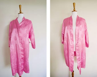 Vintage 1980's Dentelle Pink Satin Like Floral Robe / Vintage Lingerie / Girly Pajamas / Silky Robe