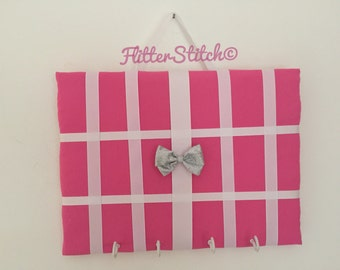 Bright pink hair bow board or holder standard size with hooks