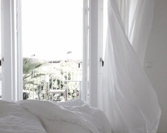 """Two white linen curtains 52"""" -Bedroom panel-14 colors -Livingroom  Linen panels -Pure linen curtains-Choose your length #Sunkissed#"""
