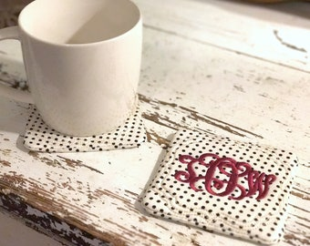 Monogram coaster set - Fabric coaster set - Monogram mug rug - Personalized coaster set - Embroidered fabric coaster set - Table coasters