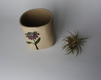 Handmade Pottery - Hand Painted Flower on Ceramic Decor