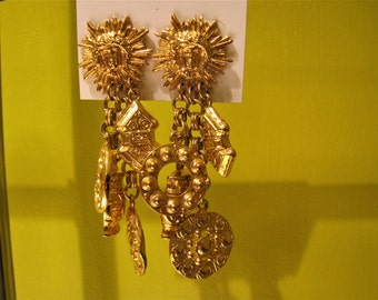 Vintage Signed Erwin Pearl Chunky Gold Toned Metal Clip On Earrings
