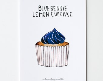 Blueberrie lemon cupcake. Hand-drawn postcard with Handlettering