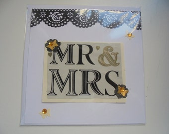 Hand made Wedding card with 'Mr & Mrs' across the front, hand made with love, FREE SHIPPING...