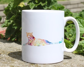 Leopard mug - Animal mug - Colorful printed mug - Tee mug - Coffee Mug - Gift Idea
