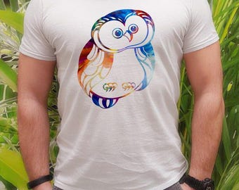 Owl t-shirt - Owl tee - Fashion men's apparel - Colorful printed tee - Gift Idea