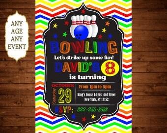 Bowling Birthday Invitation, Bowling Party Invitation, Boy Bowling Party Invitation 120