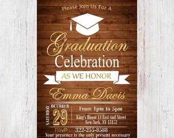 Graduation Invitation, College Graduation Invitation, Class of 2017, High School Graduation Party Invitation, Rustic Invitation 10