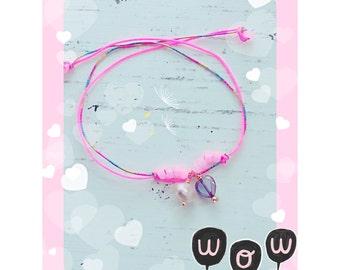 Baby girl bracelet , teen bracelet , kids bracelet , gift for daughter , beaded bracelet , pearl bracelet , little heart bracelet