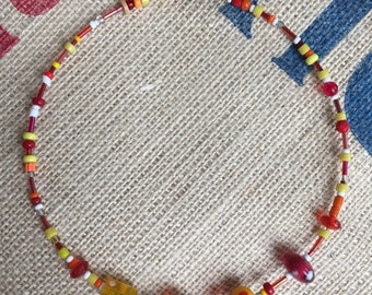 Necklace made out of recycled beads