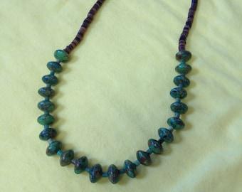 Copper Green Jasper and Heishi Necklace