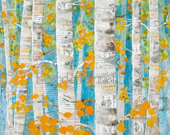 Fall Aspens - Mixed Media Paper Collage by Brenda Bennett - Gallery Wrapped Canvas Print