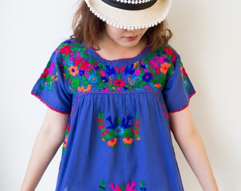Blue Mexican Blouse, Hand Embroidered, Oaxacan Blouse, Floral Embroidered, Summer Blouse