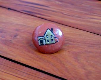 little ceramic house pin