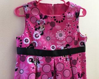Children's Pink Minnie Mouse Dress, DISNEY PRINT Dress, Easter Dress, Girl's Pink Summer Dress, Cute Kid's Birthday Dress, Boutique Dress