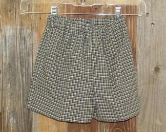 Child BW Olive Checked Shorts