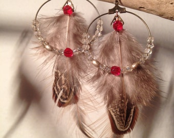 Earrings Indian feathers